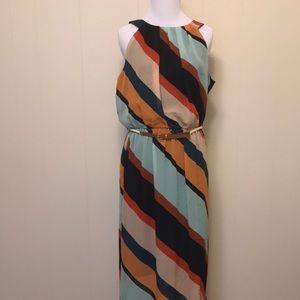 Multi Colored Chiffon Maxi Dress